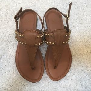 Shoes - Brown Studded Sandals Size 6.5